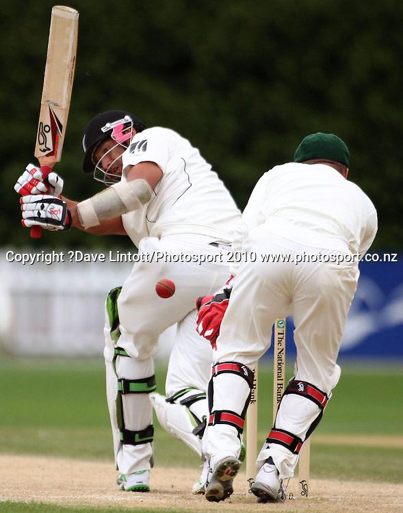 NZ's Daryl Tuffey beats Brad Haddin .<br /> 1st cricket test match - New Zealand Black Caps v Australia, day four at the Basin Reserve, Wellington. Monday, 21 March 2010. Photo: Dave Lintott/PHOTOSPORT