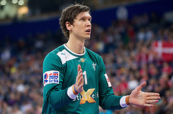 Niklas Landin Jacobsen of Denmark during handball match between Denmark and Spain in 1st Semifinal at 10th EHF European Handball Championship Serbia 2012, on January 27, 2012 in Beogradska Arena, Belgrade, Serbia. (Photo By Vid Ponikvar / Sportida.com)