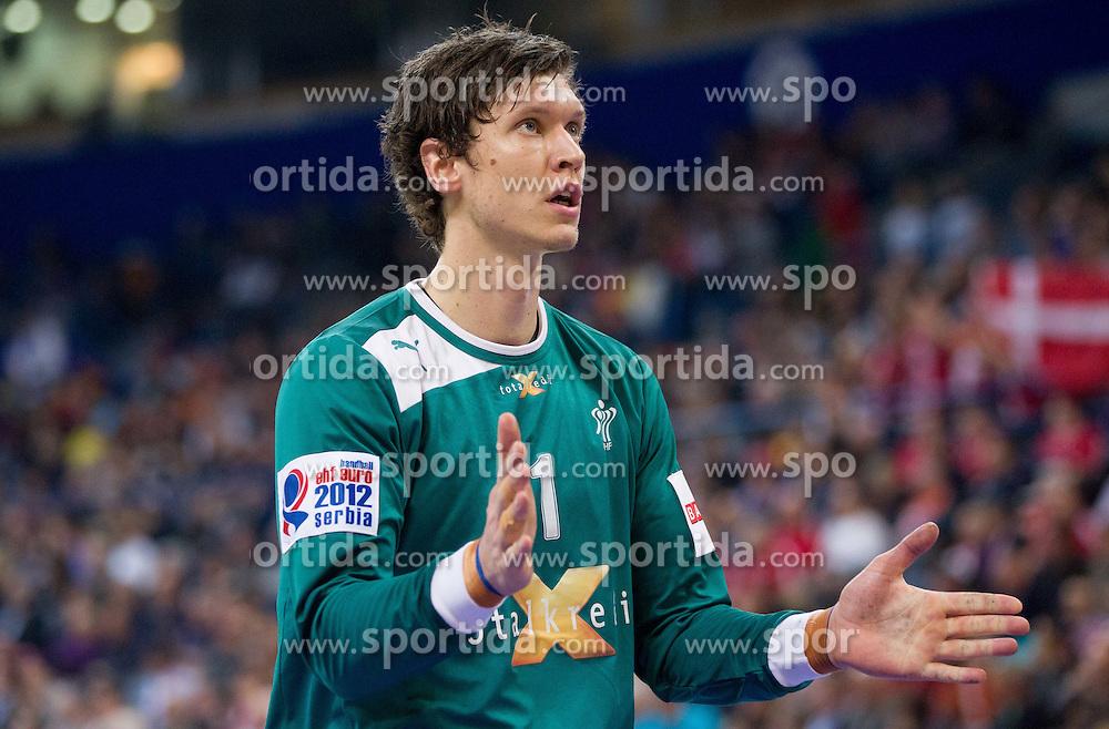 Niklas Landin Jacobsen of Denmark during handball match between Denmark and Spain in 1st Semifinal at 10th EHF European Handball Championship Serbia 2012, on January 27, 2012 in Beogradska Arena, Belgrade, Serbia. (Photo By Vid Ponikvar / Sportida.com)