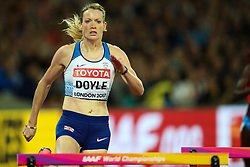 London, August 08 2017 . Eilidh Doyle, Great Britain in the women's 400m hurdles semi-final on day five of the IAAF London 2017 world Championships at the London Stadium. © Paul Davey.