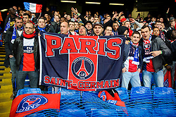 PSG fans cheer before kick off - Photo mandatory by-line: Rogan Thomson/JMP - 07966 386802 - 08/04/2014 - SPORT - FOOTBALL - Stamford Bridge, London - Chelsea v Paris Saint-Germain - UEFA Champions League Quarter-Final Second Leg.