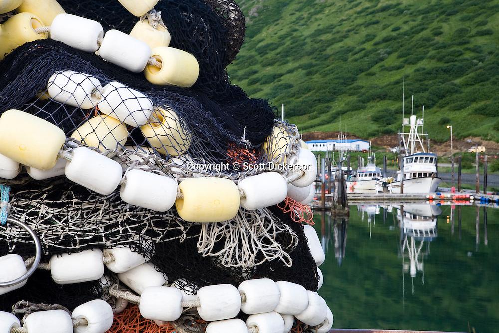 A salmon seine sits next to the King Cove harbor, King Cove, Alaska Peninsula, Alaska.