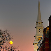 Moonrise over Portsmouth Downtown, Chritsmas