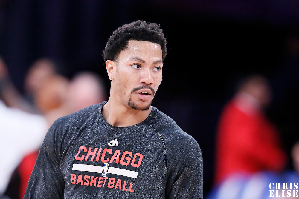 29 January 2015: Chicago Bulls guard Derrick Rose (1) warms up prior to the Los Angeles Lakers 123-118 2OT victory over the Chicago Bulls, at the Staples Center, Los Angeles, California, USA.