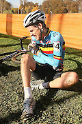 CZECH REPUBLIC / TABOR / WORLD CUP / CYCLING / WIELRENNEN / CYCLISME / CYCLOCROSS / VELDRIJDEN / WERELDBEKER / WORLD CUP / COUPE DU MONDE / #2 / VAL / INJURY / FALL / START / JENS ADAMS (BEL) /