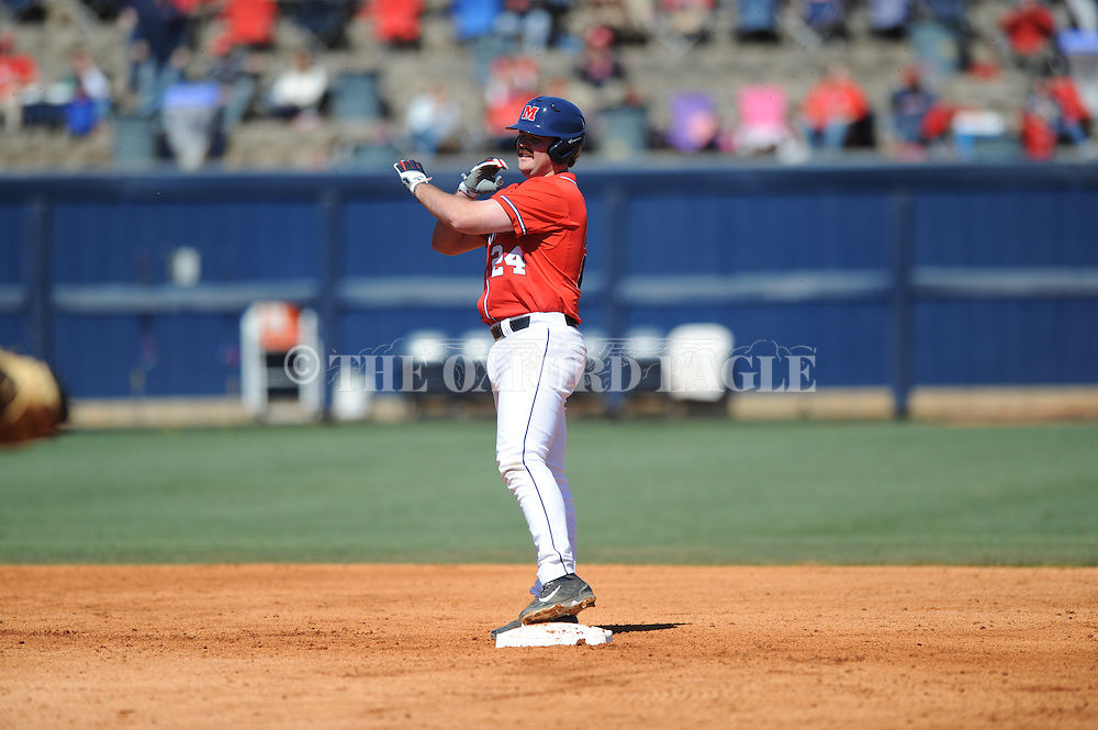 Ole Miss' Sikes Orvis (24) hits a double vs. Stetson at Oxford-University Stadium in Oxford, Miss. on Saturday, March 7, 2015. Ole Miss won 8-3 in game 1 of a doubleheader to improve to 7-5.