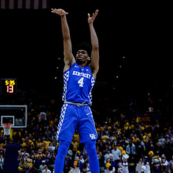 Jan 3, 2018; Baton Rouge, LA, USA; Kentucky Wildcats forward Nick Richards (4) shoots against the LSU Tigers during the first half at the Pete Maravich Assembly Center. Mandatory Credit: Derick E. Hingle-USA TODAY Sports