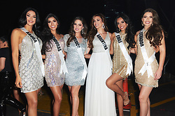 Danna Garcia, Miss Aruba 2019; Rosemary Arauz, Miss Honduras 2019; Sofía Aragón, Miss Mexico 2019; Mariana Varela, Miss Argentina 2019; Geraldine González, Miss Chile 2019; and Cristina Hidalgo, Miss Ecuador 2019; backstage during The MISS UNIVERSE® Competition airing on FOX at 7:00 PM ET on Sunday, December 8, 2019 live from Tyler Perry Studios in Atlanta. Contestants from around the globe have spent the last few weeks touring, filming, rehearsing and preparing to compete for the Miss Universe crown. HO/The Miss Universe Organization