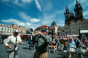Tyn Church and Old Town Square (Staromestske Namesti). Jazz musicians.