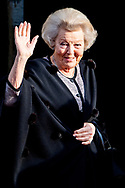 15-1-2019 AMSTERDAM - Princess Beatrix arrives at the palace , hold the traditional New Year's reception for Dutch guests on Tuesday 15 January 2019 and Wednesday 16 January for foreign diplomats and representatives of international organizations based in the Netherlands. COPYRIGHT ROBIN UTRECHT