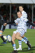 Cardiff Blues full back Dan Fish (15) clears the ball during the Heineken Champions Cup match between Glasgow Warriors and Cardiff Blues at Scotstoun Stadium, Glasgow, Scotland on 13 January 2019.
