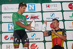 July 31, 2018 - Roeselare, BELGIUM - Slovakian Peter Sagan of Bora-Hansgrohe and Belgian Yves Lampaert of Quick-Step Floors celebrate on the podium the 'Natourcriterium Roeselare' cycling event, Tuesday 31 July 2018 in Roeselare. The contest is a part of the traditional 'criteriums', local races in which mainly cyclists who rode the Tour de France compete. BELGA PHOTO KURT DESPLENTER (Credit Image: © Kurt Desplenter/Belga via ZUMA Press)