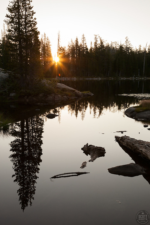 """Sunrise at Five Lakes 2"" - Photograph of a sunrise ane pine tree reflection at one of the Five Lakes, in the Tahoe area."