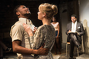 01/11/2012. London, UK. Arcola Studio 2, Dalston, presents: 'but i cd only whisper'.  The world premiere of a fierce and lyrical new work from Chicago. Directed by Nadia Latif and Written by Kristiana Colón. Picture shows Tunji Kasim, Sian Breckin & Cornell S John.
