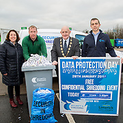 17.01.17<br /> A special event is taking place to allow businesses and householders throughout Limerick drop off confidential documents to be shredded free of charge.<br /> <br /> Pictured at the launch of the event at Mungret Recycling Centre were, Sinead McDonnell, Environmental Awareness Officer with Limerick City and County Council, Terence Ryan, Mungret Recycling Centre, Mayor of the City and County of Limerick, Cllr Kieran O'Hanlon and Albert Kelly, Security in Shredding.<br /> <br /> <br /> <br /> <br /> <br /> The one-day event is at the Mungret Recycling Centre on Saturday 28 January 2017 from 11.00am until 3.30pm.<br /> Limerick City and County Council in conjunction with Security in Shredding, a company that offers confidential document paper shredding services in Ireland, are facilitating the 'Free Shred Event' to mark European Data Protection Day 2017 and promote good waste management practices. Picture: Alan Place