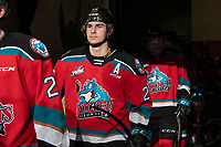 KELOWNA, BC - NOVEMBER 20: Dillon Hamaliuk #22 of the Kelowna Rockets walks to the ice for the third period against the Victoria Royals  at Prospera Place on November 20, 2019 in Kelowna, Canada. (Photo by Marissa Baecker/Shoot the Breeze)
