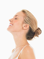 Young Blonde Woman Laughing side view