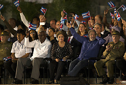 SANTIAGO DE CUBA, Dec. 4, 2016 (Xinhua) -- Bolivia's President Evo Morales (2nd L), former Brazilian Presidents Dilma Rousseff (4th L) and Luiz Inacio Lula da Silva (2nd R), and Cuban President Raul Castro (R), take part in a mass rally to pay homage to Cuban revolutionary leader Fidel Castro at the Revolution Square in Santiago de Cuba, Cuba, on Dec. 3, 2016. The ashes of Cuban revolutionary leader, Fidel Castro, arrived Saturday in Santiago de Cuba, where he will be laid to rest in the Santa Ifigenia cemetery on Sunday. .(Xinhua/David de la Paz)(zcc) (Credit Image: © [E]David De La Paz/Xinhua via ZUMA Wire)