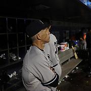 Manager Joe Girardi, New York Yankees, in the dugout during the New York Mets Vs New York Yankees MLB regular season baseball game at Citi Field, Queens, New York. USA. 18th September 2015. Photo Tim Clayton
