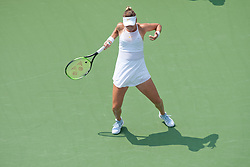 August 11, 2018 - Cincinnati, OH, USA - Western and Southern Open Tennis, Cincinnati, OH - August 11, 2018 - Belinda Bencic expresses frustration after a point lost against Christina McHale in the qualifiers for the Western and Southern Tennis tournament held in Cincinnati. - Photo by Wally Nell/ZUMA Press (Credit Image: © Wally Nell via ZUMA Wire)