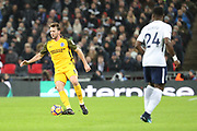 Brighton and Hove Albion midfielder Dale Stephens (6) dribbling during the Premier League match between Tottenham Hotspur and Brighton and Hove Albion at Wembley Stadium, London, England on 13 December 2017. Photo by Matthew Redman.