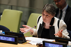 Helen Clark, former Prime Minister of New Zealand and Administrator of the United Nations Development Programme (UNDP), candidate for the position of the next secretary-general, presents herself to the member states at the United Nations headquarters in New York, April 14, 2016. The UN General Assembly on Tuesday kicked off a three-day informal dialogue with candidates for the position of the next secretary-general. EXPA Pictures © 2016, PhotoCredit: EXPA/ Photoshot/ Li Muzi<br /> <br /> *****ATTENTION - for AUT, SLO, CRO, SRB, BIH, MAZ, SUI only*****