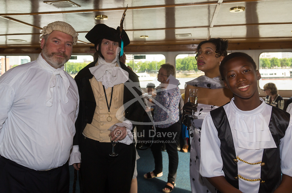 London, July 17th 2017. London Historians and Georgian Dining Academy celebrate the 300th anniversary of George Frederic Handel's masterpiece, The Water Music on the pleasure boat Golden Jubilee on the River Thames in London.