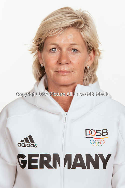 Silvia Neid poses at a photocall during the preparations for the Olympic Games in Rio at the Emmich Cambrai Barracks in Hanover, Germany, taken on 15/07/16 | usage worldwide