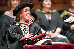 Paralympian Ellie Simmonds receives an honorary degree from Swansea University during the degree ceremony for the College of Human and Health Sciences in the Great Hall at the university.