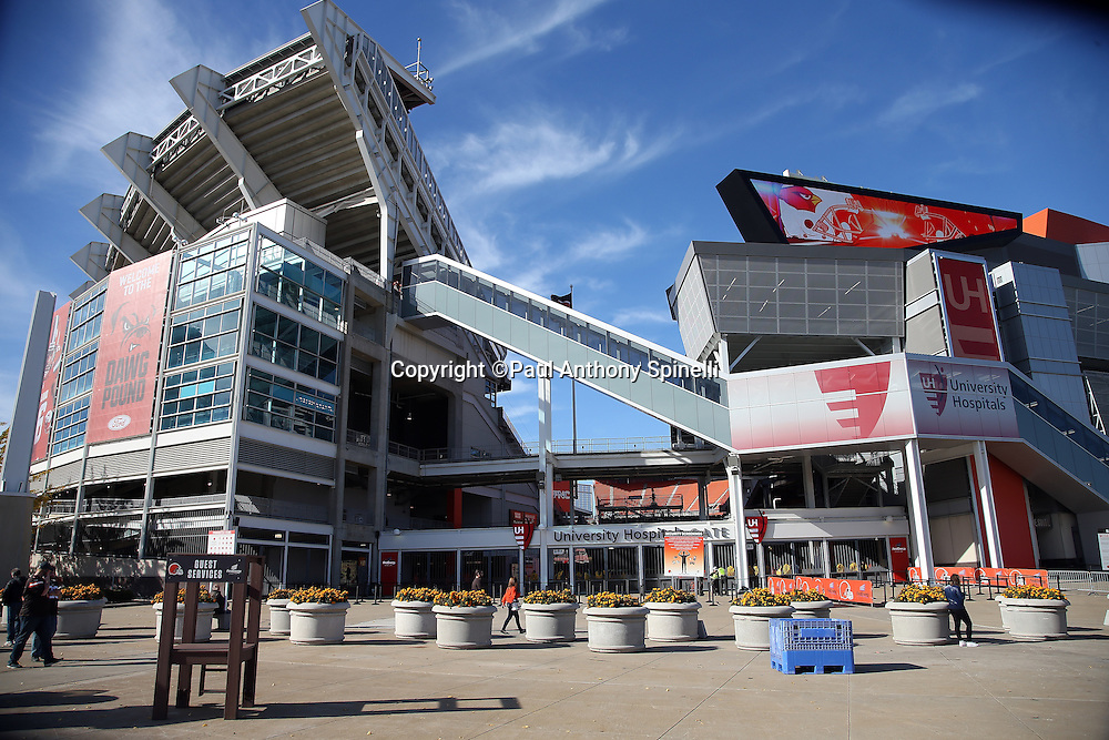FirstEnergy Stadium stands tall in this wide angle, general view photograph taken before the Cleveland Browns 2015 week 8 regular season NFL football game against the Arizona Cardinals on Sunday, Nov. 1, 2015 in Cleveland. The Cardinals won the game 34-20. (©Paul Anthony Spinelli)