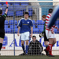 St Johnstone v Hamilton..05.03.05<br />Sean Webb is red carded after bringing down Pat Keogh<br /><br />Picture by Graeme Hart.<br />Copyright Perthshire Picture Agency<br />Tel: 01738 623350  Mobile: 07990 594431