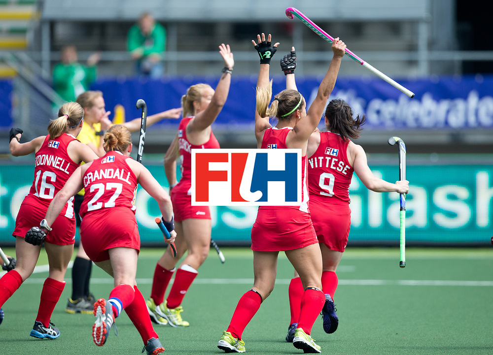 Hockey World Cup 2014<br /> The Hague, Netherlands <br /> Day 2 Women England v USA<br /> England celebrate a goal<br /> Photo: Grant Treeby<br /> www.treebyimages.com.au
