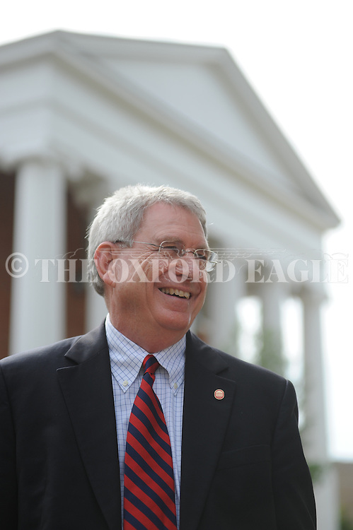 Chancellor Dan Jones stand outside the Lyceum before  a dedication of a marker on the Mississippi Freedom Trail at the University of Mississippi in Oxford, Miss. on Friday, September 28, 2012.
