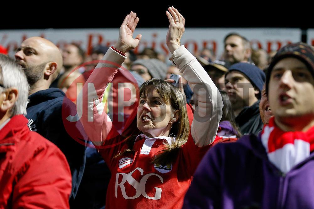 Bristol City fans celebrate after Kieran Agard scores a goal to make it 0-1 - Photo mandatory by-line: Rogan Thomson/JMP - 07966 386802 - 10/03/2015 - SPORT - FOOTBALL - Yeovil, England - Hush Park Stadium - Yeovil Town v Bristol City - Sky Bet Football League One.