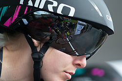 Hannah Barnes (GBR) of CANYON//SRAM Racing concentrates before the start of Stage 2 of the Healthy Ageing Tour - a 19.6 km team time trial, starting and finishing in Baflo on April 6, 2017, in Groeningen, Netherlands.