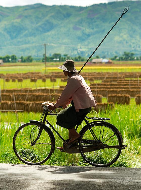 Burmese farmer on a bike