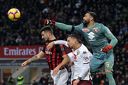 December 9, 2018 - Milan, Milan, Italy - Patrick Cutrone #63 of AC Milan competes for the ball with Salvatore Sirigu #39 of Torino FC during the serie A match between AC Milan and Torino FC at Stadio Giuseppe Meazza on December 09, 2018 in Milan, Italy. (Credit Image: © Giuseppe Cottini/NurPhoto via ZUMA Press)