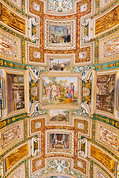 Ornate roof in the Maps Room at Vatican Museum in Rome, Italy