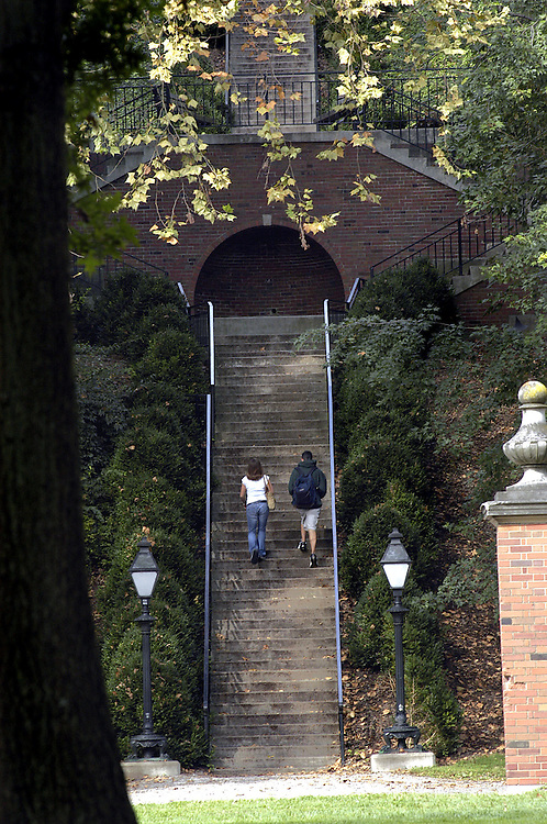 Kelly Lengyel and Bryan Clem, freshman from Wadsworth Ohio,  walk up the Bryan Hall steps on their way to class Thursday morning. Johnny Hanson Photo.