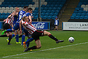 Danny Wright scores during the Vanarama National League match between FC Halifax Town and Cheltenham Town at the Shay, Halifax, United Kingdom on 3 October 2015. Photo by Antony Thompson.