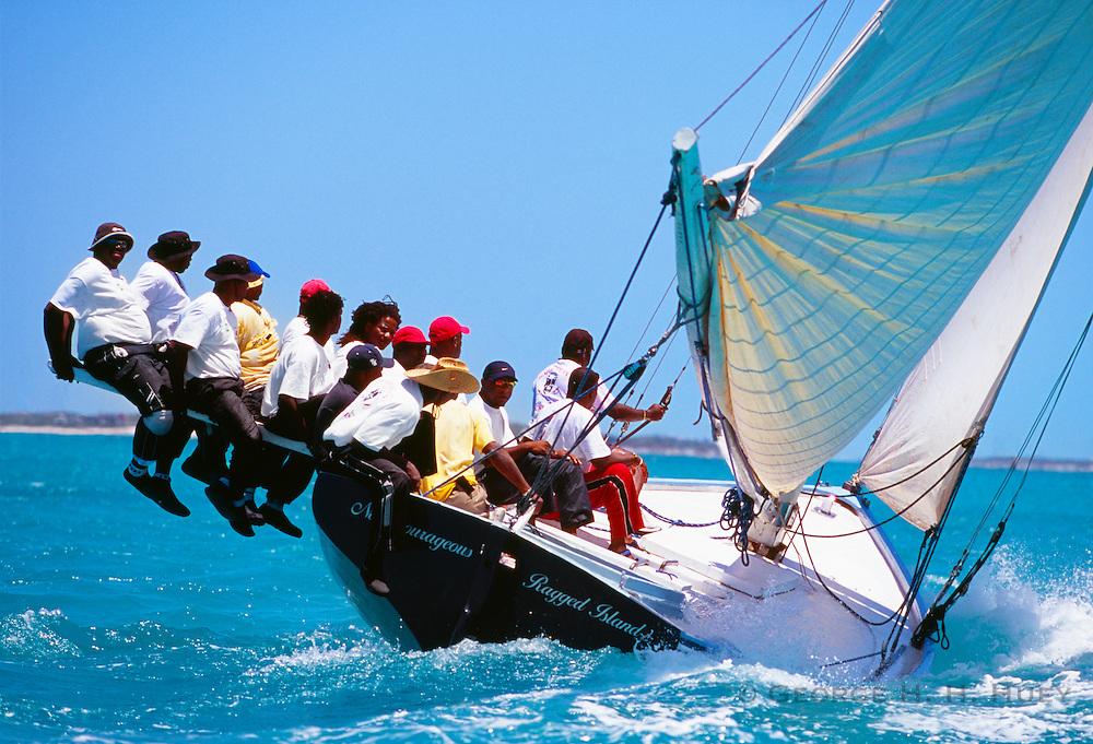 "356204-1211 ~ Copyright:  George H. H. Huey ~ Bahamian racing ""A"" class sloop at the annual National Family Island Regatta. George Town, Great Exuma Island, Bahamas."