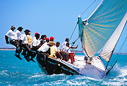 "356204-1211 ~ Copyright:  George H. H. Huey ~ Bahamian racing ""A"" class sloop at the annual National Family Island Regatta. George Town, Great Exuma Island, Bahamas."