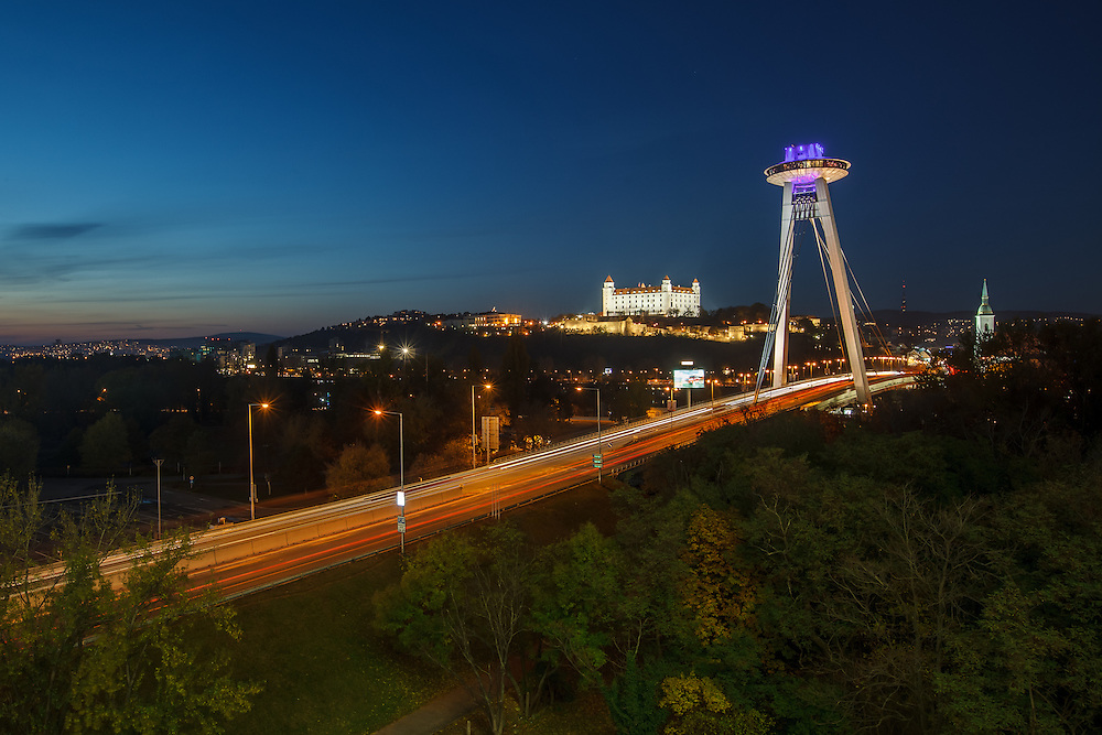View from Aupark - Bratislava Castle and UFO