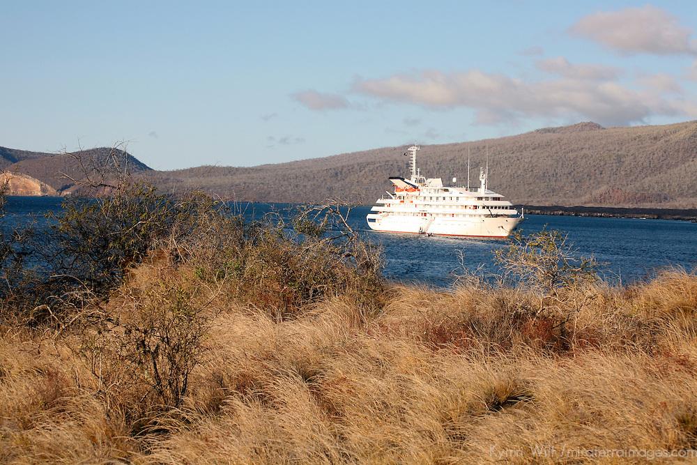 The MV Galapagos Explorer II offshore at Santiago Island in the Galapagos. Ecuador, South America