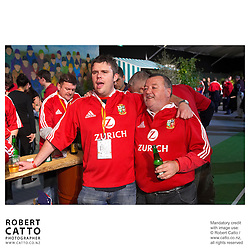 Lions Fans at the British & Irish Lions v. All Blacks Third Test at Eden Park, Auckland, New Zealand.<br />