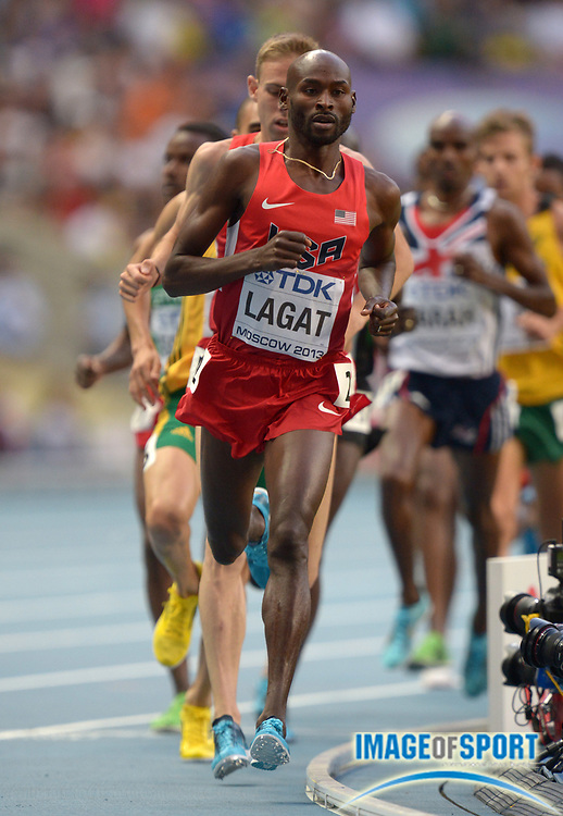 Aug 16, 2013; Moscow, RUSSIA; Bernard Lagat (USA) places sixth in the 5,000m in 13:29.24 in the 14th IAAF World Championships in Athletics at Luzhniki Stadium.