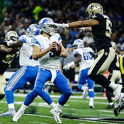 Oct 15, 2017; New Orleans, LA, USA; New Orleans Saints outside linebacker Craig Robertson (52) pressures and strips Detroit Lions quarterback Matthew Stafford (9) of the football during the first half of a game at the Mercedes-Benz Superdome. Mandatory Credit: Derick E. Hingle-USA TODAY Sports
