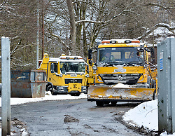 Pictured: Gritters leaving their council depot in Edinburgh on Thursday morning.<br /> <br /> The severe winter weather continued to cause chaos throughout Scotland, with the most severe level of Amber warning being extended until 10am on Friday 02 March.<br /> <br /> &copy; Dave Johnston / EEm