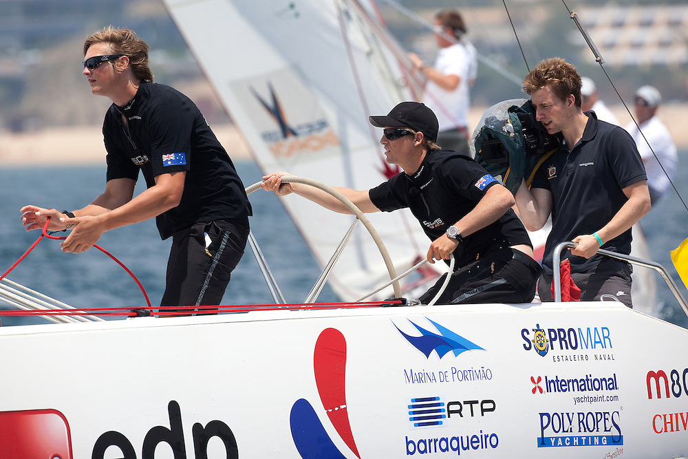 Torvar Mirsky leads Ian Williams in their semi final at Portimao Portugal Match Cup 2010. World Match Racing Tour. Portimao, Portugal. 27 June 2010. Photo: Gareth Cooke/Subzero Images