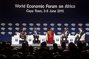 The panel presents at 'Infomal is the new Formal' session at the World Economic Forum on Africa 2015 in Cape Town. Copyright by World Economic Forum / Greg Beadle